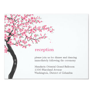 Cherry Blossoms Wedding Reception Card