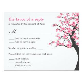 Cherry Blossoms Wedding RSVP Card 11 Cm X 14 Cm Invitation Card