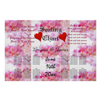 Cherry Blossoms Wedding Seating Chart Bride Groom Poster