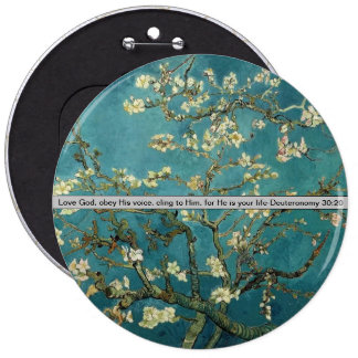 cherry blossoms with bible verse 6 cm round badge