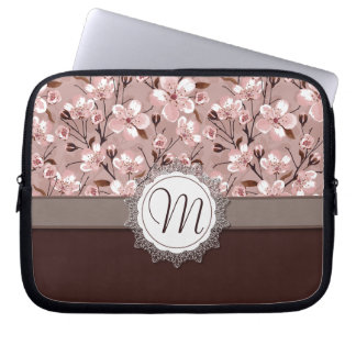 Cherry Blossoms with Lace Monogram Computer Sleeve