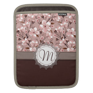 Cherry Blossoms with Lace Monogram iPad Sleeves