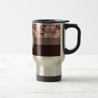 Cherry Blossoms with Lace Monogram Travel Mug