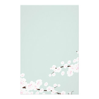 Cherry Blossoms with Mint Green Background Stationery