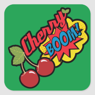 Cherry Boom! Square Sticker