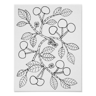 Cherry Branch Cardstock Adult Coloring Page Poster