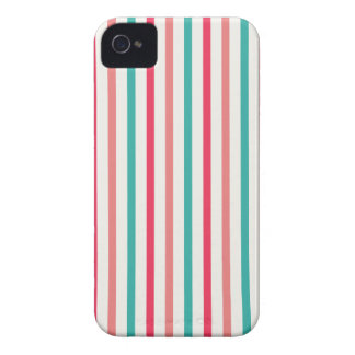 Cherry candy pink and minty blue stripes Case-Mate iPhone 4 case