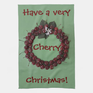 Cherry Christmas Tea Towel