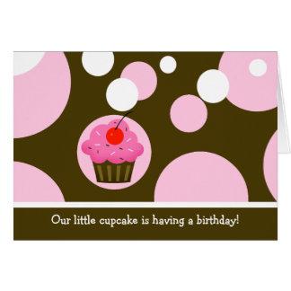 Cherry Cupcake Brown/Pink Modern Folded invitation