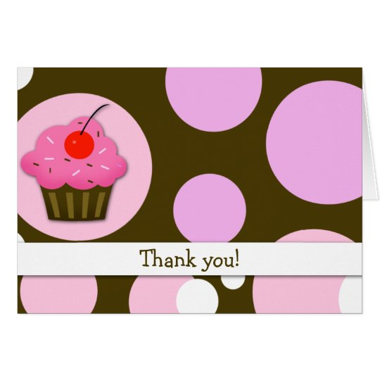 Cherry Cupcake Brown/Pink Modern Folded Thank you Card
