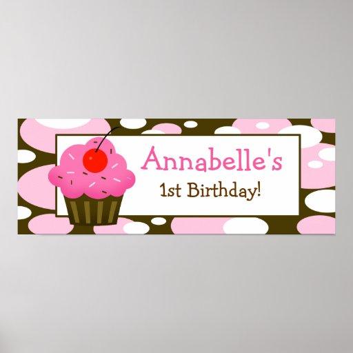 Cherry Cupcake Personalised Birthday Banner Poster