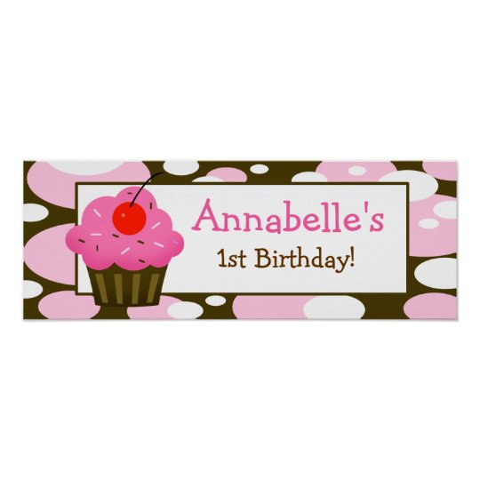 Cherry Cupcake Personalised Birthday Banner Poster
