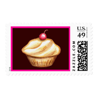 Cherry Cupcake Postage Stamp Birthday