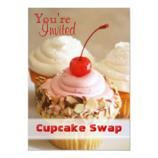 Cherry Cupcake Swap Holiday Card Personalized Announcements