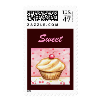 Cherry Cupcake Sweet Postage Stamp