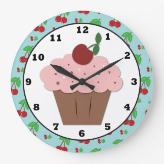 Cherry Cupcake Sweet Wall Clock