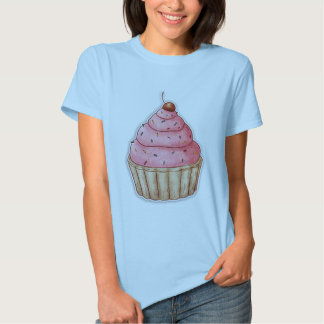 Cherry Cupcake T Shirt Pink Icing Cherry On Top