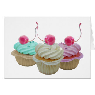 Cherry cupcakes greeting card