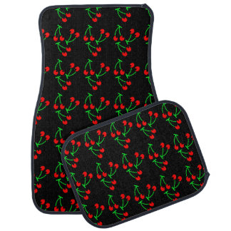 Cherry fruit pattern red black green car mat
