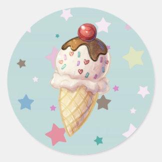 Cherry Fudge Icecream Round Sticker