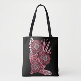 Cherry Gerbera Daisy Flower Bouquet Tote Bag