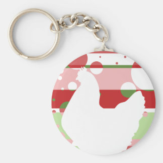 Cherry-Lime Pop Art Chicken Basic Round Button Key Ring