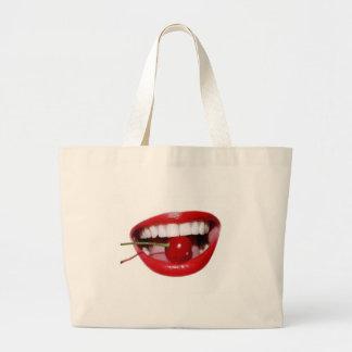 Cherry Lips Tote Bags