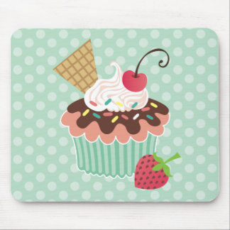 Cherry & Mint Cupcake Mouse Pad