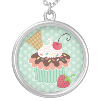 Cherry & Mint Cupcake Necklace