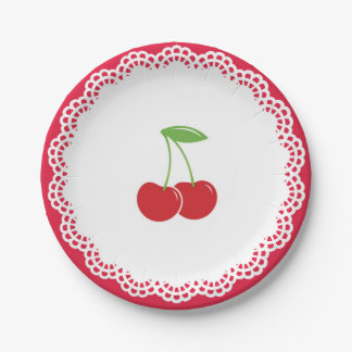 Cherry Party Dessert Plate 7 Inch Paper Plate