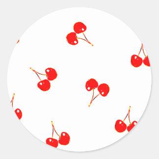 Cherry Pattern Pop Version Round Sticker
