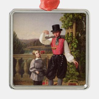 Cherry Pickers Silver-Colored Square Decoration