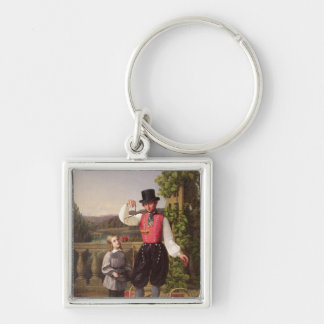 Cherry Pickers Silver-Colored Square Key Ring