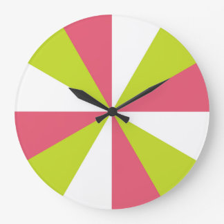 Cherry pink and lime modern kitchen clock - fun!