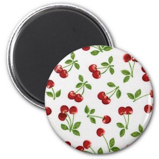 Cherry Print 6 Cm Round Magnet