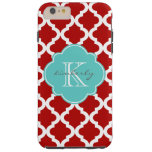Cherry Red and Aqua Moroccan Quatrefoil Print Tough iPhone 6 Plus Case
