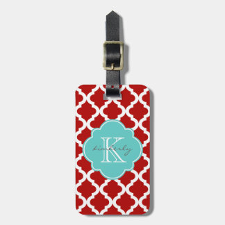 Cherry Red and Aqua Moroccan Quatrefoil Print Luggage Tag
