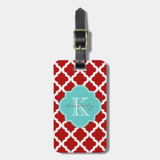 Cherry Red and Aqua Moroccan Quatrefoil Print Luggage Tag
