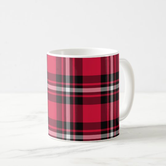 Cherry Red and Black Sporty Plaid Coffee Mug