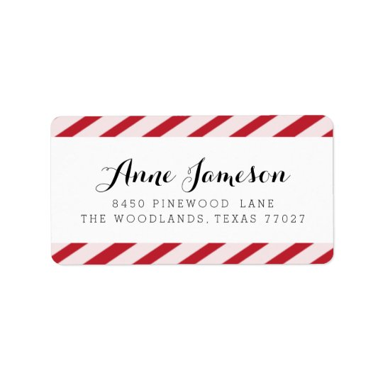 Cherry Red Carnival Stripes Address Labels