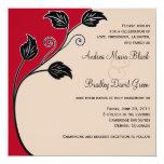 Cherry red, Champagne, & Black Wedding Invitation