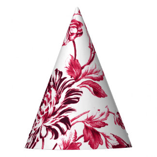 Cherry Red Floral Toile No.2 Party Hat