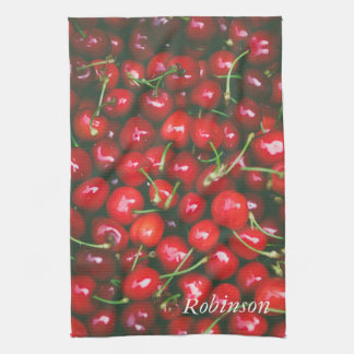 Cherry Red Fruit Personalised Tea Towel