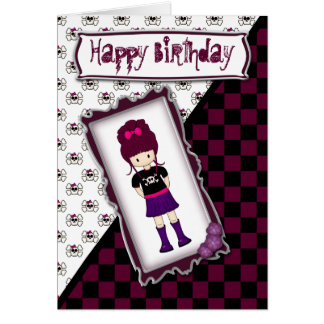 Cherry Red Haired Emo Goth Girl Birthday Card