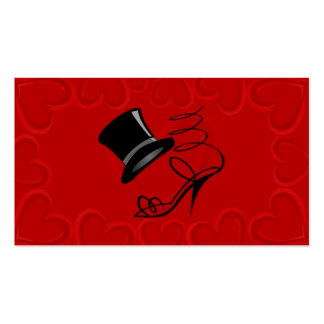 Cherry Red Hearts Top Hat and High Heel Place card Pack Of Standard Business Cards
