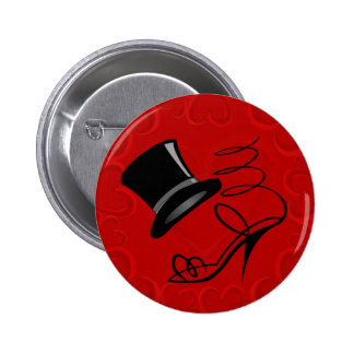 Cherry Red Hearts Top Hat and High Heels 6 Cm Round Badge