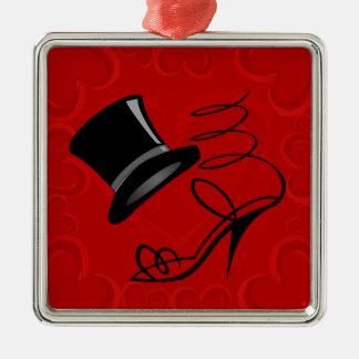 Cherry Red Hearts Top Hat and High Heels Silver-Colored Square Decoration