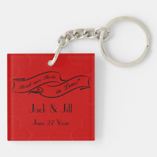 Cherry Red Hearts Top Hat and High Heels Double-Sided Square Acrylic Key Ring