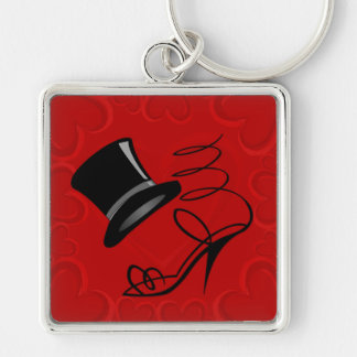 Cherry Red Hearts Top Hat and High Heels keychain