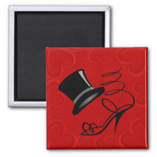 Cherry Red Hearts Top Hat and High Heels magnet